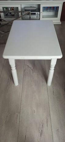 Stolik drewniany biały glamour, ława