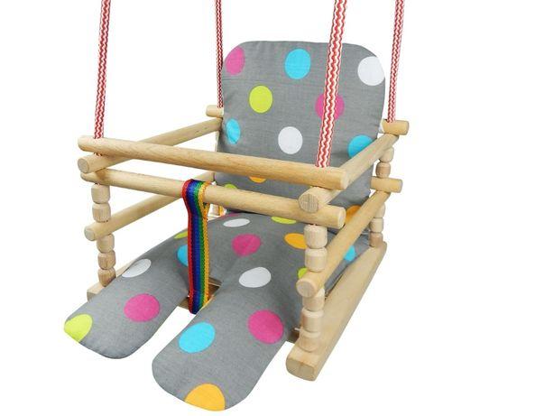 WZORY Huśtawka drewniana z MIĘKKIM materacykiem OPARCIEM dla dzieci