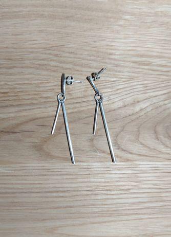 Długie srebrne wiszące kolczyki