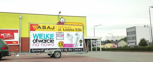 Reklama mobilna, przyczepa reklamowa, mobil reklamowy, przyczepka rekl