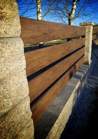 Panel ogrodzeniowy,sztacheta met.,drewnopodobna,wypełnienie poziome
