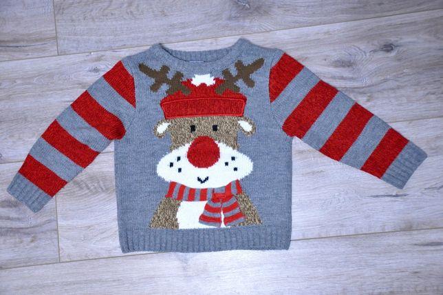 Зимний свитер, кофта новогодняя с оленем