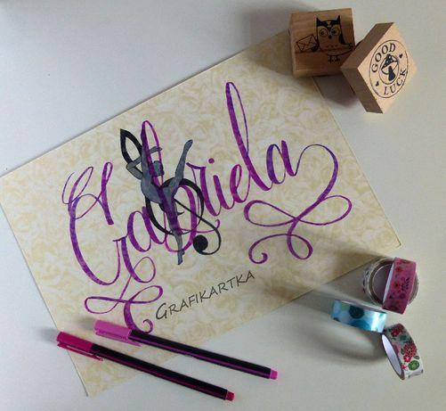 Ilustracja z imieniem, kaligrafia, obrazek, dekoracja, prezent