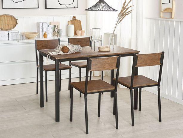 Conjunto de jantar com mesa 110 x 70 cm e 4 cadeiras castanho escuro e preto HAMRY - Beliani