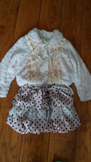 Новый с биркой костюм для девочки платье с рукавом и шубка 122 размер