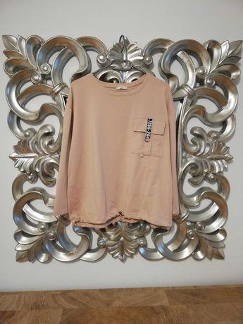 Bluza over size pudrowy róż