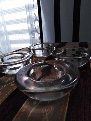 4 świeczniki szklane szwedzkie, skandynawski design