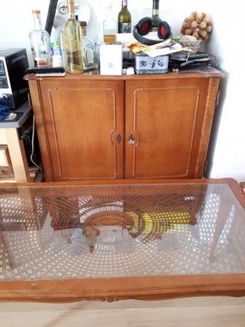 Komplet mebli stolik kawowy szafka barek komódka styl ludwik drewno
