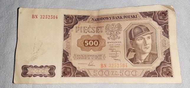 500 zl,z 1948 roku 01 lipca seria bn/bw/bh,i inne.