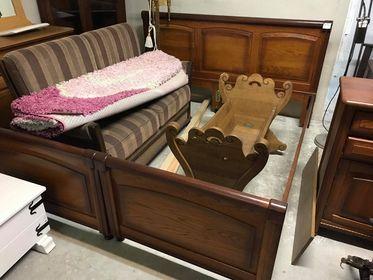 Piękne solidne dębowe łóżko łoże drewniane 180x200 stan bdb DOWÓZ