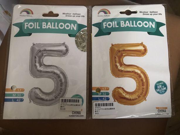 Фольгированный шарик, шар цифра 5 новый