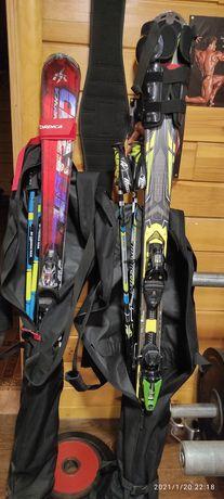 Лыжи с чехлом наколенники