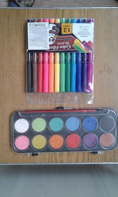 фломастеры краски акварельные набор новые
