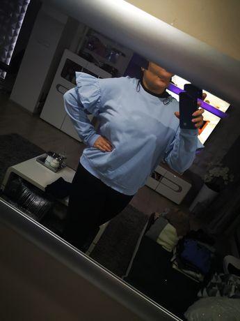 bluza błękitna Z falbankami H&M 40 42