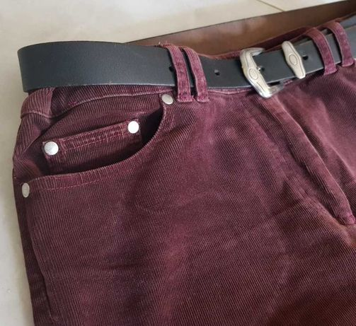 Sztruksy damskie męskie retro Vintage  elastyczne modne spodnie