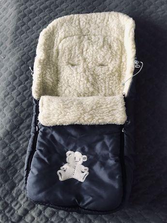 Чехол  конверт на овчине в коляску санки