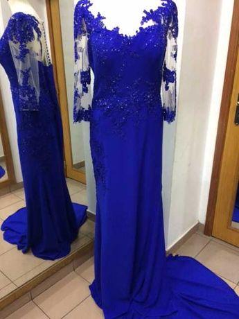 Vestido cerimónia azulão, comprido e cauda Tamanho L XL Novo