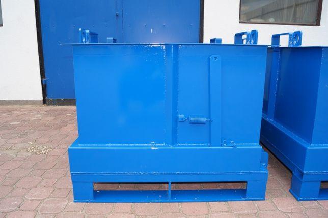 Wysoki stalowy kontener, otwierane dno, do paleciaka, odpady, produkty
