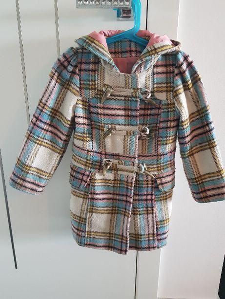 Piękny płaszczyk dla dziewczynki George w kratkę rozmiar 110 4-5 lat