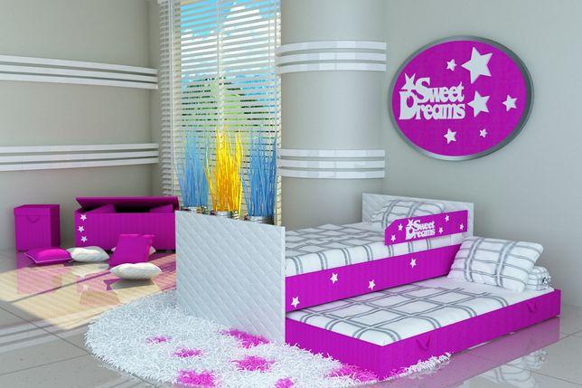 Piętrowe Łóżko dziecięce +2 materace+ barierka,łóżko z napisem