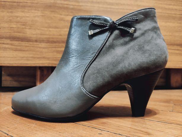 Кожаные туфли на каблуке 38р.