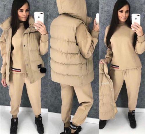 MONCLER- stylizowany komplet spodnie, bluza-dres + kamizelka M/XL