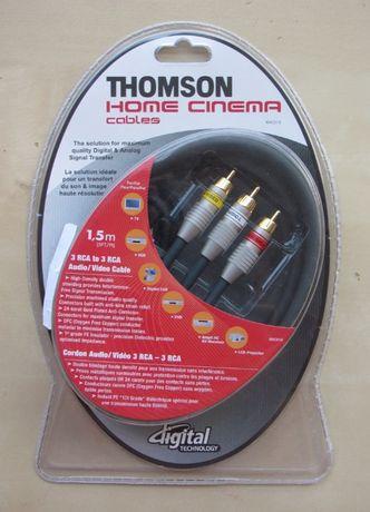 Przewód THOMSON 3 x RCA cinch - 3 x RCA cinch - 1,5m - OFC - Gold 24k
