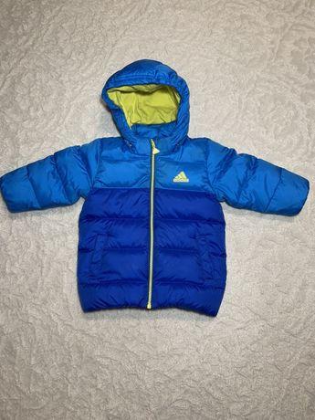 Зимний пуховик Adidas original.6-9 мес. Зимняя курточка на пуху рост74
