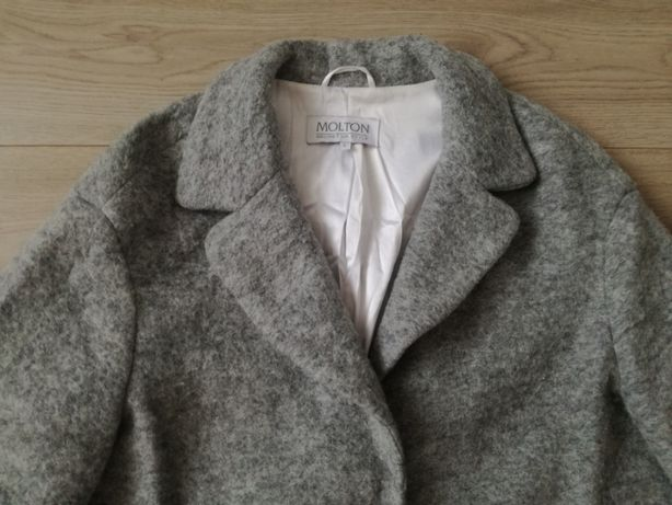 Molton szary wełniany płaszcz wełna 40 L