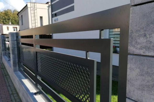 Ogrodzenia aluminiowe, stalowe, wycinane laserowo, z panelami drewnopo