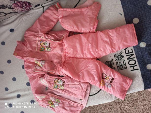 Теплый костюм набор для девочки, курточка, комбинезон