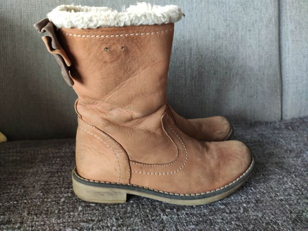 Buty zimowe kozaki skórzane Lasocki dziewczynka r. 30