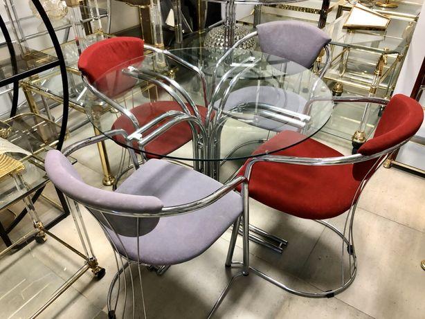 Stół z krzesłami chrom vintage zestaw do kuchni jadalni Bauhaus
