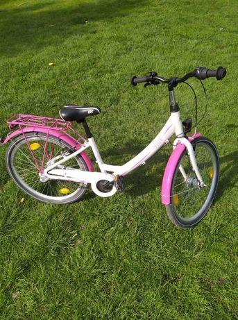 Rower 24 cale dziewczęcy, różowo-perłowy
