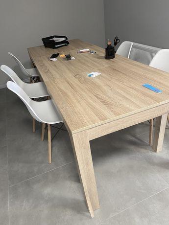 Длинный офисный стол. Раскладной.  Стулья белые лофтПоселок Котовского