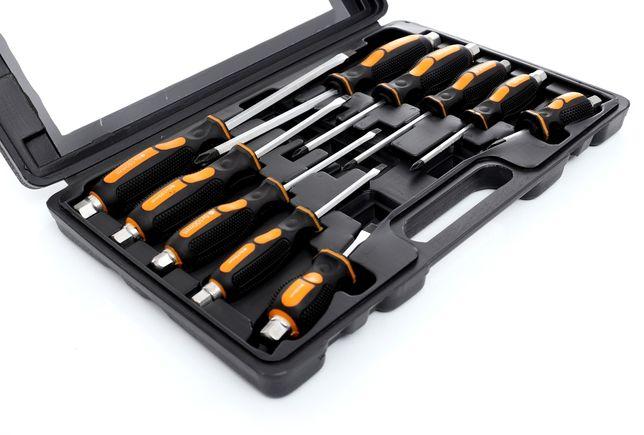 Zestaw wkrętaków śrubokrętów ślusarskich do podbijania 10 szt walizka