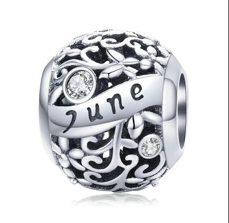 Charms srebrny miesiąc Czerwiec