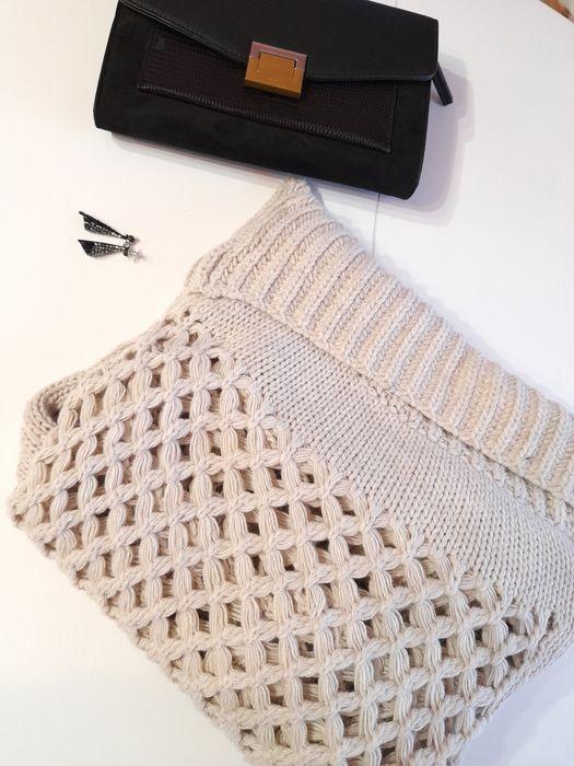 Cieply sweter Zimowy, ażurowy, rozm L półgolf, szary, kremowy Garwolin - image 1