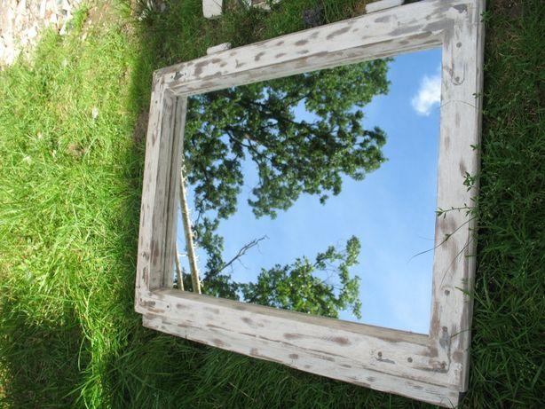 Stare lustro w ramie z okna 49 x 64