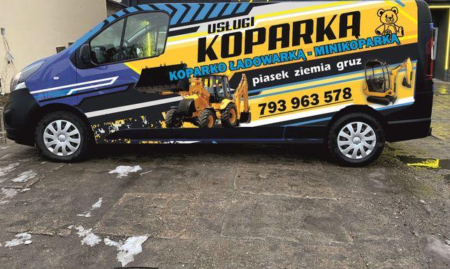 Usługi koparko ładowarką + minikoparką - transport materiałów sypkich