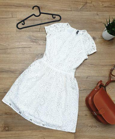 Sukienka piękna i gruba koronka H&M 36 ECRU