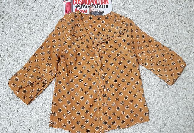 Блуза горчичная в принт