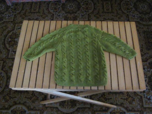 Свитер шерстяной ручной вязки,100% шерсть,зеленый