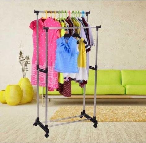 Универсальная Прочная Двойная напольная передвижная стойка для одежды