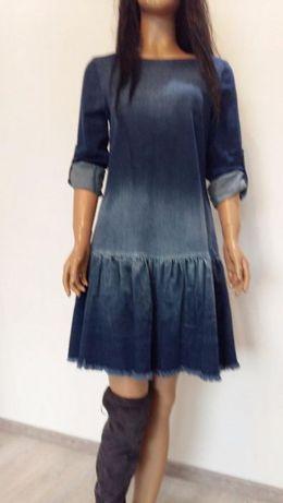 Jeansowa sukienka falbanka ekspres wycierana S