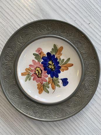 Ozdobny talerz cynowy porcelanowy cyna porcelana