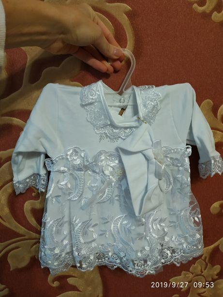 Платье на новорожденную девочку на выписку, крестины, новый год