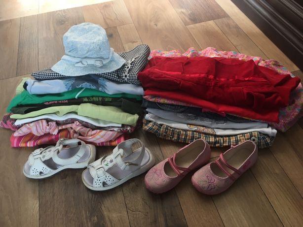Mega paka ubrań letnie dziewczęce 116-122 roz buciki sandałki