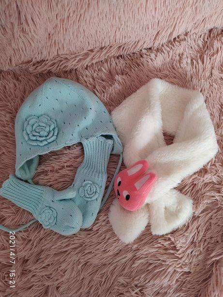 Czapka miętowa z rękawiczkami i szalikiem H&M 86-92