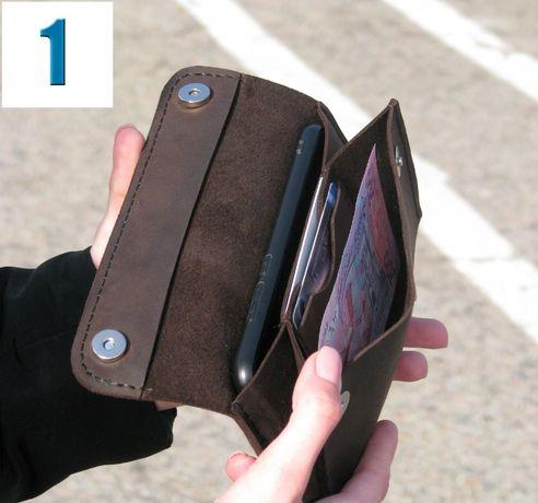 Кожаный кошелек| Шкіряний гаманець мужской женский Ручная работа 3вида